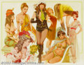 Original Illustration Art:Pin-up and Glamour Art, Rudy Garcia - Original Pin-up Art (c.1976-1981).. High Societymagazine, for The History of Erotic Clothing.. Gouach...