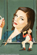 Original Illustration Art:Pin-up and Glamour Art, Dal Holcomb - Original Illustration (1945-1950).. Lauren Bacall,probably a cover for a King Syndicate publication.. Gouache...