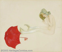 Raphael Kirchner (c.1870-1917) Original Pin-up / Glamour Art (c.1910). Watercolor on paper, framed (26.5 x 33), sight si...