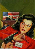 Original Illustration Art:Pulp, Pulp-like, Digests and Paperback Art, Leo Morey - Attributed - Original Pulp Cover Painting (1943)..Crack Detective November, 1943.. Oil on board, matted (33...(Total: 2 items Item)