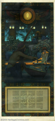 Maxfield Parrish (1870-1966) Vintage Print (1922). Egypt, for the large 1922 Edison Mazda calendar. Near mint with unci...