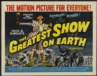 "The Greatest Show On Earth (Paramount, R-1960). Half Sheet (22"" X 28""). Drama"