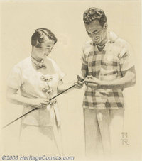 Norman Perceval Rockwell (1894-1978) Original Magazine Story Illustration (1964). Senator Barry Goldwater and wife Peggy...