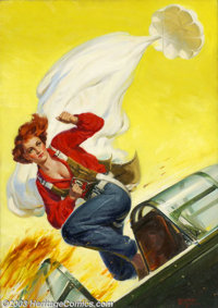 George Jerome Rozen (1895-1974) Original Pulp Painting (1940-1945). Female aviator, for an action / adventure pulp magaz...