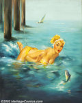 Original Illustration Art:Pin-up and Glamour Art, Edward Runci (1921-1985) Original Pin-up Art (1956).. RecordCatch, published as a calendar print.. Oil on canvas, appro...
