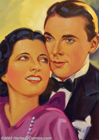 Irving Sinclair (1895-1969) Original Illustration (1934). Movie stars Kay Francis and George Brent. Oil on board, image...