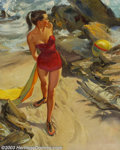 Original Illustration Art:Pin-up and Glamour Art, Thornton Utz (1914-1999) - Attributed - Original Pin-up / GlamourArt (1950-1960).. Oil on canvas, approximately 30 x 24. No...