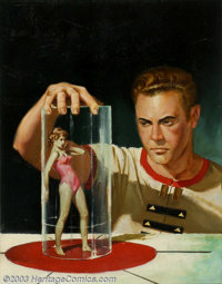 Edward Valigursky - Original Paperback Cover Art (1957). Ace #D-249 - Cosmic Puppets by Philip K. Dick (Paperback Origi...