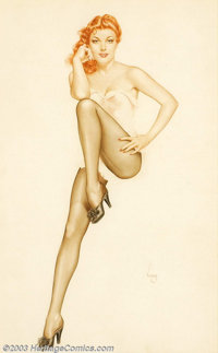 Alberto Vargas (1896-1982) Original Pin-up / Glamour Art (c.mid-1940s). Fiery hair, brilliantly detailed facial features...