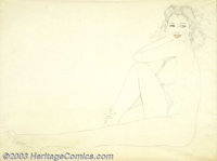 "Alberto Vargas (1896-1982) Original Preliminary Sketch (1940-1950). ""Legacy Nude"" preliminary drawing. Graphit..."