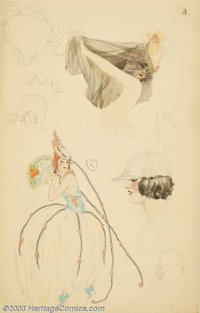 Alberto Vargas (1896-1982) Original Early Sketches (c.1916). Group of five drawings from Vargas' first sketchbook. These...