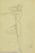 "Original Illustration Art:Pin-up and Glamour Art, Alberto Vargas (1896-1982) Original Pin-up Sketch (1950).. Raresketch for the ""7 of clubs,"" part of the Vargas Girl playing...(Total: 3 items Item)"