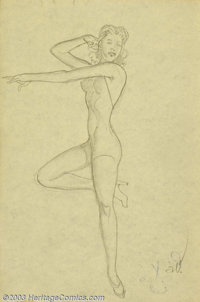 """Alberto Vargas (1896-1982) Original Pin-up Sketch (1950). Rare sketch for the """"7 of clubs,"""" part of the Vargas..."""