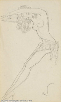 Alberto Vargas (1896-1982) Original Pin-up Sketch (c.1950). Most likely drawn by Vargas as part of his early conceptions...