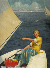 Jean Paul Verrees - Original Illustration (c.1920). Probably a cover for a love story / romance pulp magazine. Oil on ca...