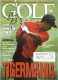 Golf Collectibles:Autographs, Tiger Woods Signed Magazine. Notoriously stingy with his autograph,the legendary linksman made an exception for one young ...