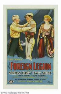 "Foreign Legion, The (Universal, 1928). One Sheet (27"" X 41""). Norman Kerry, dashing hero and occasional villai..."