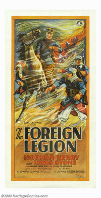 "Foreign Legion, The (Universal, 1928). Three Sheet (41"" X 81""). Norman Kerry was a dashing hero and occasional..."