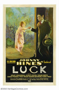 "Movie Posters:Comedy, Luck (Mastodon, 1923). One Sheet (27"" X 41""). Comedian Johnny Hinesspecialty was in fast paced, action films and this is on..."