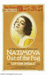 """Out of the Fog (Metro, 1919). Window Card (14"""" X 22""""). Based on the play """"Ception Shoals"""", Alla Nazi..."""