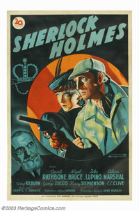"""Adventures of Sherlock Holmes, The (20th Century Fox, 1939). French Poster (30"""" X 45.5""""). Master sleuth Sherlo..."""