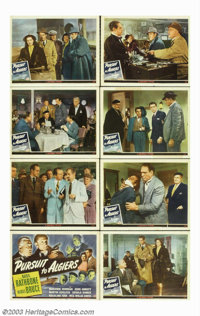 "Pursuit to Algiers (Universal, 1945). Lobby Card Set (8) (11"" X 14""). Basil Rathbone and Nigel Bruce are back..."