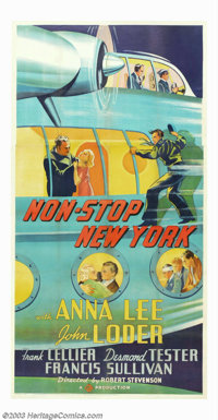 """Non-Stop New York (Gaumont, 1937). Three Sheet (41"""" X 81""""). This mystery thriller was released in some parts o..."""