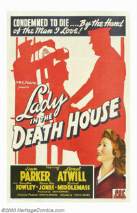 "Lady in the Death House (PRC, 1944). One Sheet (27"" X 41""). A young woman (Jean Parker) is on death row for th..."