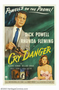 Movie Posters:Film Noir, Cry Danger (RKO, 1951). Dick Powell and Rhonda Fleming star in thisfilm noir melodrama, directed by Robert Parrish, about a...