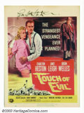 "Movie Posters:Film Noir, Touch Of Evil (Universal International, 1958). Window Card (14"" X19""). The top of this window card has been trimmed by appr..."