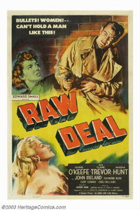 """Raw Deal (Eagle Lion Films, 1948). One Sheet (27"""" X 41""""). Beautifully made, Anthony Mann film, about a man wro..."""