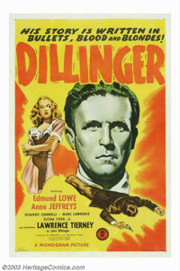 "Dillinger (Monogram, 1945). One Sheet (27"" X 41""). This small budget, little action packed bio-pic is best rem..."