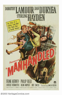 """Manhandled (Paramount, 1949). One Sheet (27"""" X 41""""). Though considered by many to be a minor noir thriller, th..."""