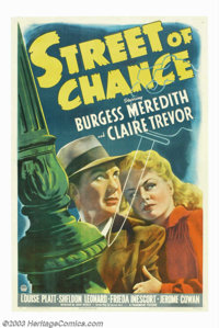 "Street of Chance (Paramount, 1942) One Sheet (27"" X 41""). Based on Cornell Woolrich's novel The Black Curtain..."