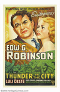 "Movie Posters:Drama, Thunder in the City (Astor, R-1947). One Sheet (27"" X 41""). Re-issue one sheet to this Columbia 1937 film starring Edward G...."