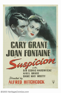 "Suspicion (RKO, 1941). One Sheet (27"" X 41""). Alfred Hitchcock's story about a spinsterish young woman (Joan F..."