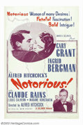"Movie Posters:Hitchcock, Notorious (RKO, R-1954). One Sheet (27"" X 41""). Alfred Hitchcock'sfilm noir, romance thriller stars Ingrid Bergman, who is ..."