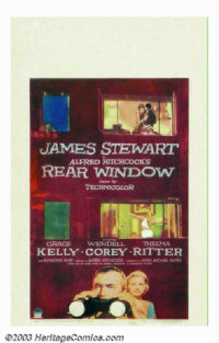 """Rear Window (Paramount, 1954). Window Card (14"""" X 22""""). In this masterful Hitchcock suspense thriller, Jimmy S..."""