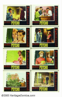 "Psycho (Paramount, 1960). Lobby Card Set (8) (11"" X 14""). Hitchcock's foray into psychological obsession had b..."