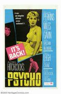 "Movie Posters:Horror, Psycho (Paramount, 1960). One Sheet (27""X41""). Nice re-issue poster that is identical to the original with the exception of ..."