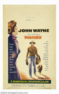 "Movie Posters:Western, Hondo (Warner Brothers, 1953). Window Card (14"" X 22""). John Wayneis Hondo Lane, an Army dispatch rider, who discovers a wo..."