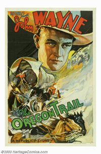 "Oregon Trail, The (Republic, 1936). One Sheet (27"" X 41""). For the John Wayne collector, B western collector..."