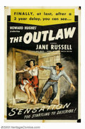 """Movie Posters:Western, Outlaw,The (United Artists, R-1950). One Sheet (27"""" X 41""""). Thiscontroversial western was made by Howard Hughes in 1938 but..."""