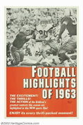 """Movie Posters:Sports, Football Highlights of 1963 (Universal, 1963). One Sheet (27"""" X 41"""").This is a Universal short subject sports film that high..."""