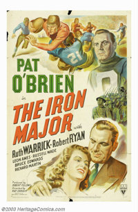 """Iron Major (RKO, 1943). One Sheet (27"""" X 41""""). Actor Pat O'Brien, who was a college athlete, was a natural for..."""