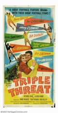 """Movie Posters:Sports, Triple Threat (Columbia, 1948). Three Sheet (41"""" X 81""""). The real drawing card for this film was the presence of several rea..."""