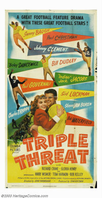 "Triple Threat (Columbia, 1948). Three Sheet (41"" X 81""). The real drawing card for this film was the presence..."