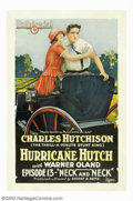 """Movie Posters:Serial, Hurricane Hutch (Pathe', 1921). Chapter 13 """"Neck and Neck"""". One Sheet (27"""" X 41""""). Filmed under rather strenuous conditions ..."""