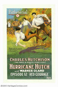 "Movie Posters:Serial, Hurricane Hutch (Pathe', 1921). Chapter 12 ""Red Courage"". One Sheet(27"" X 41""). This vibrant and colorful poster shows the ..."