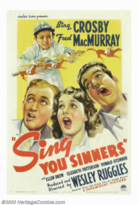 "Sing You Sinners (Paramount, 1938). One Sheet (27"" X 41""). In 1932, Paramount signed a young radio crooner to..."